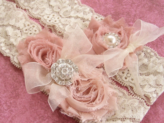 Vintage Bridal Garter Wedding Set Toss Included Dusty Rose Ivory With Rhinestones And Pearls Custom Colors