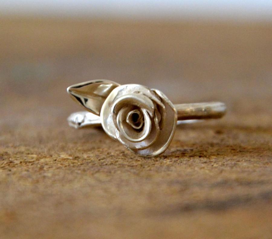 Hochzeit - twig engagement ring branch ring sterling silver rose ring -silver branch engagement ring- leaf rose engagement ring