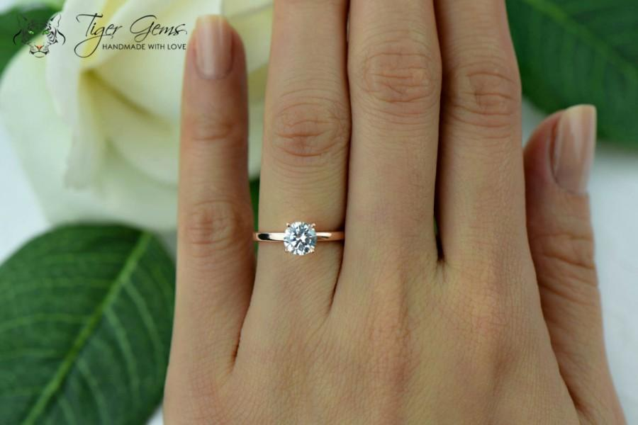 1 Carat 4 Prong Engagement Ring ROSE Solitaire Ring Man Made