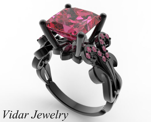 Свадьба - Pink Sapphire Engagement Ring,Princess Cut Engagement Ring,Unique Engagement Ring,Black Gold Engagement Ring,Custom Engagement Ring
