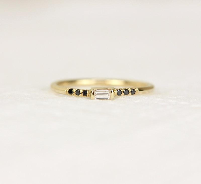 Свадьба - 14K Solid Gold Thin Baguette Diamond Engagement Ring,Simple Black Diamond Engagement Ring,Gold Dainty Stacking Ring
