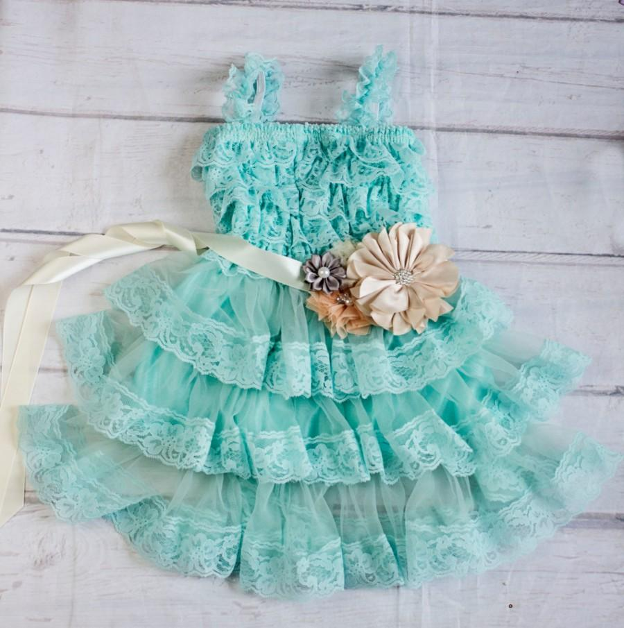 Свадьба - Lace Turquoise Flower Girl Dress with Tan Sash..Flower Girl Dress..Cowboy Girl Outfit..Flower Girl Gift..Photography Prop for Girls.Weddings