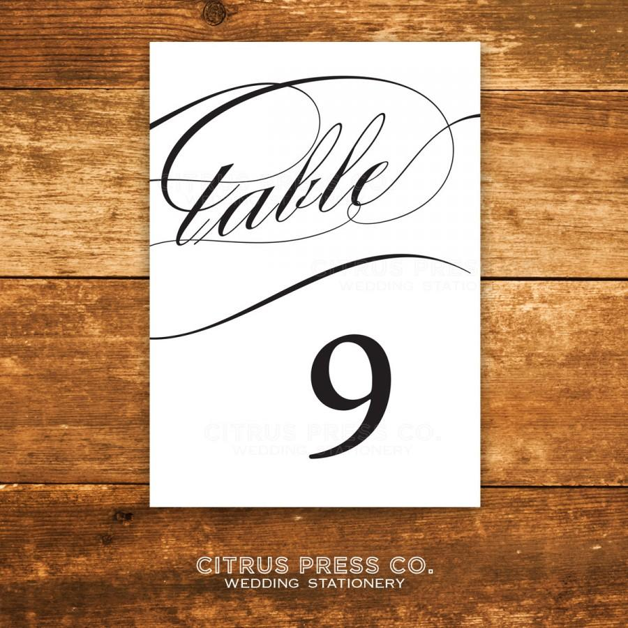 Wedding - 4x6 Printable Caligraphy Table Numbers - 4x6 - Instant Download - DIY PDF