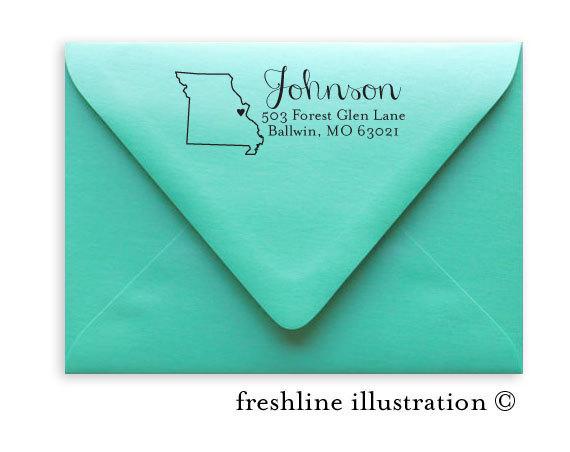 Wedding - Return Address Stamp, Self-Inking Address Stamp, Custom Stamp, State Stamp, Style #12