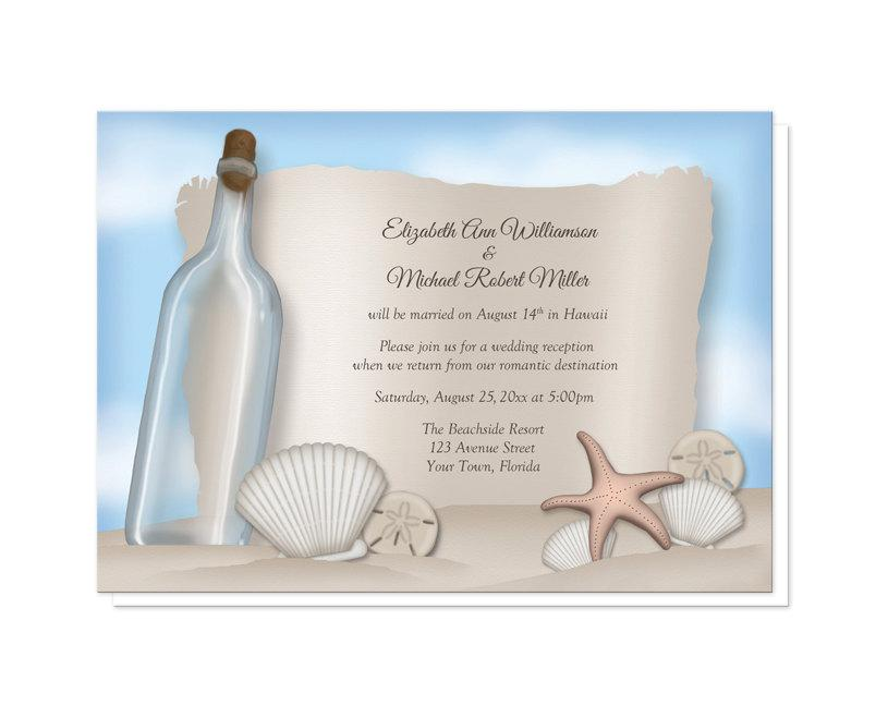 Message From A Bottle Beach Reception Only Invitations - Post ...
