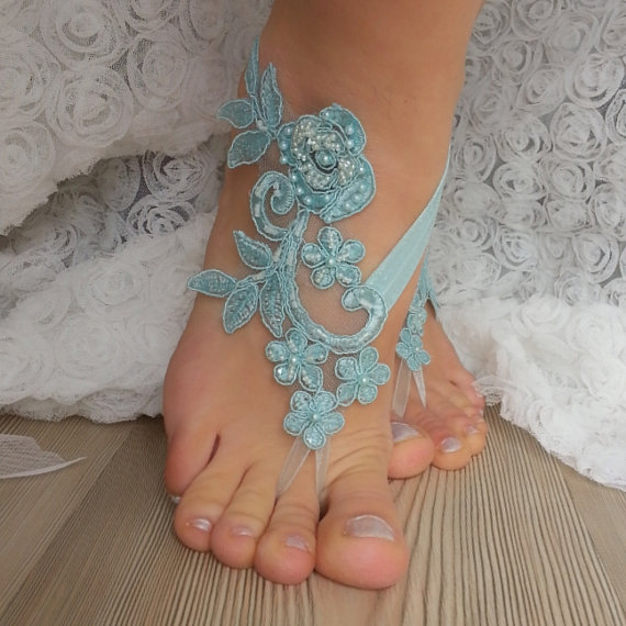 Wedding - Smoked blue Barefoot , french lace sandals, wedding anklet, Beach wedding barefoot sandals, embroidered sandals.