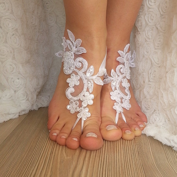 4ee97e34dda White Lace Barefoot Sandals Wedding Barefoot