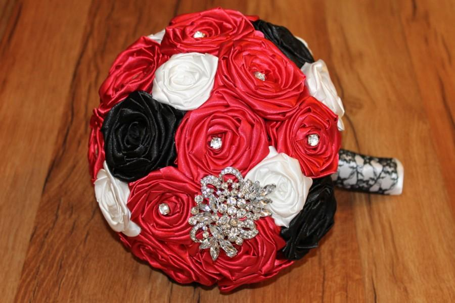 Red Brooch Bouquet, Red Broach Bouquet, Red Fabric Flower Bouquet ...