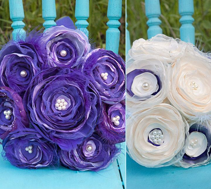 Mariage - Jilliann's Deep  PURPLEand LAVENDER FEATHER Bouquet