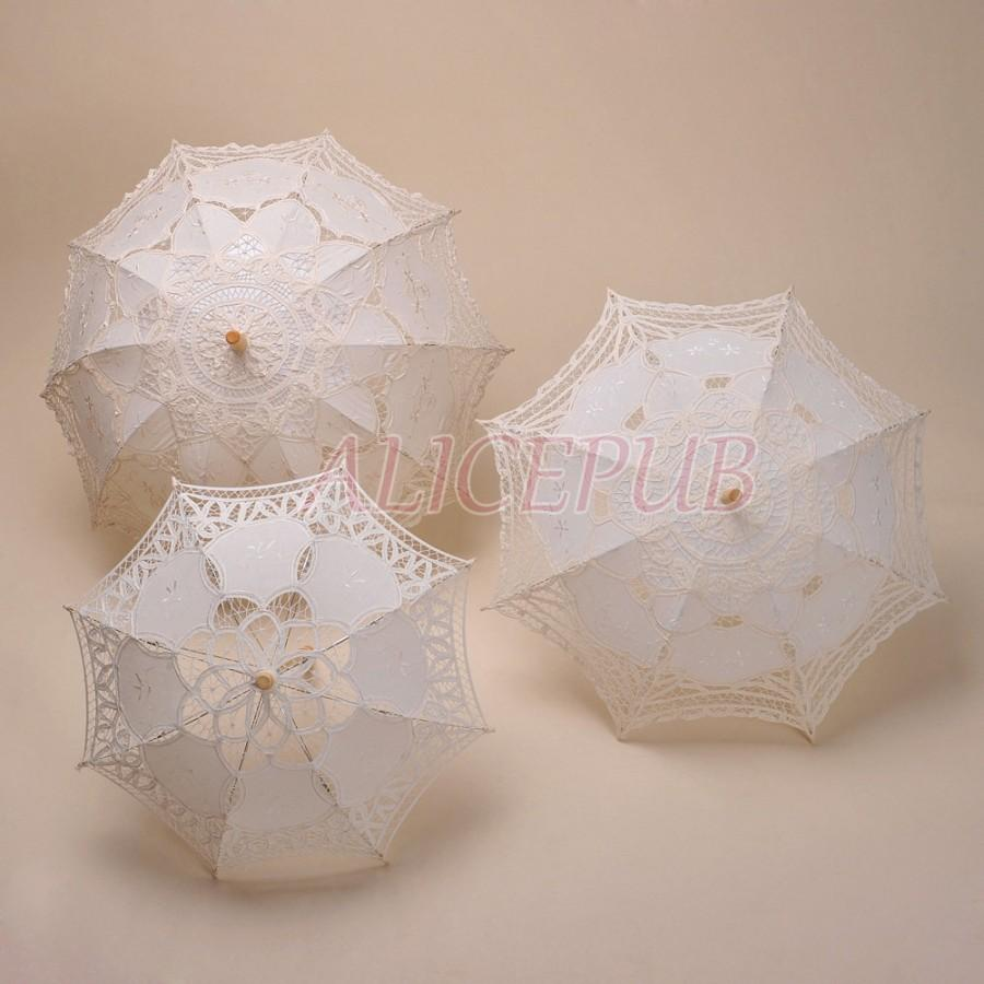 wedding parasol umbrella bridal shower umbrella battenburg lace parasol flower girl umbrella wedding party decoration lace umbrella ivory
