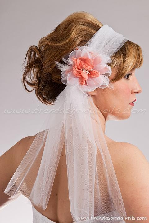 Wedding - Retro Tulle Bridal Headband and Detachable Sheer and Matte Organza Layered Flower Birdcage Fascinator with Custom Color Accent - Frances