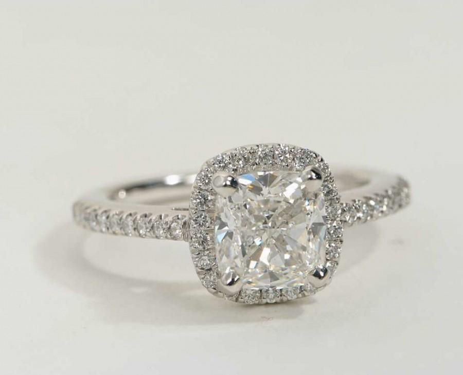 SALE Cushion Cut CZ Halo Engagement Ring Sterling Silver Wedd