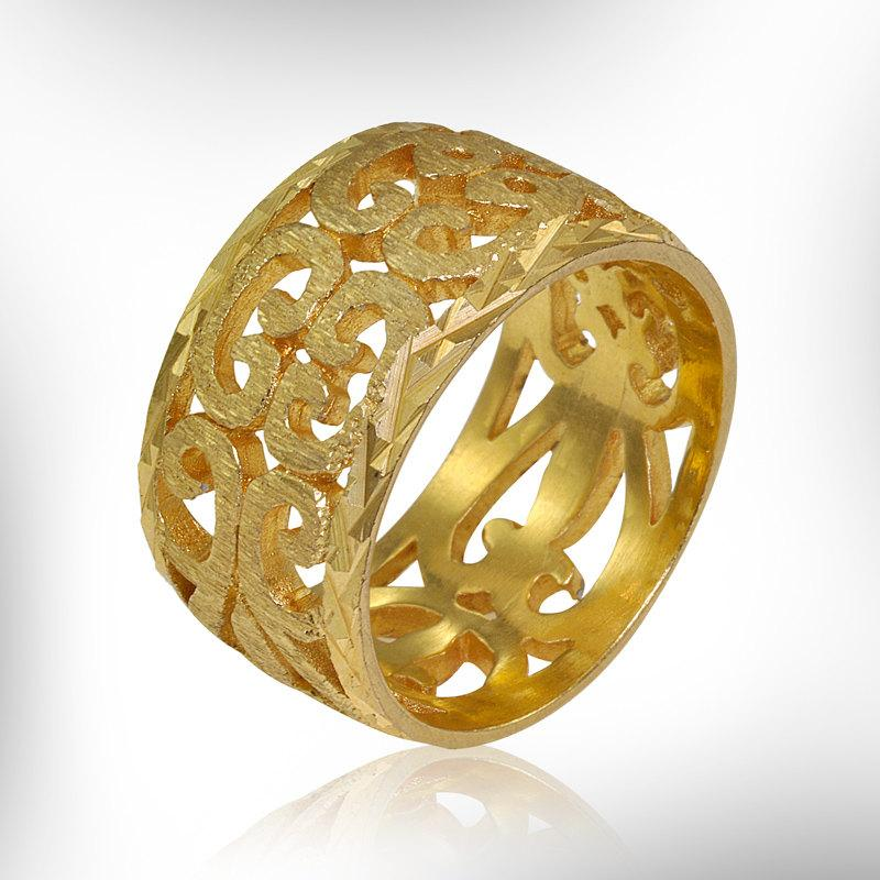 14k Gold Wedding Band, Gold Lace Ring, Vintage Style Gold Ring ...