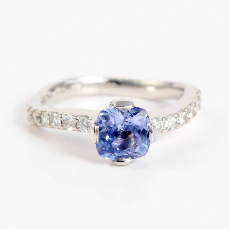 sapphire 18k white gold engagement ring wave
