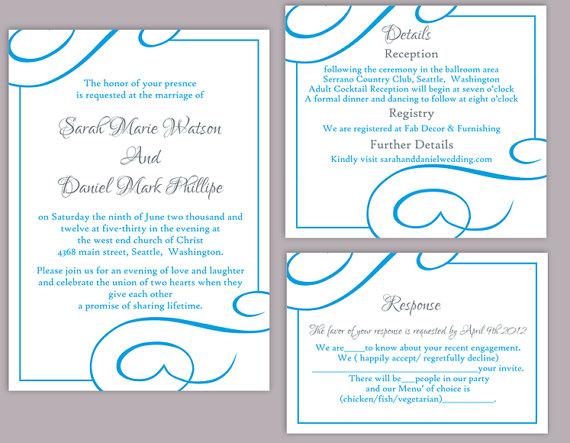 blue wedding invitations templates