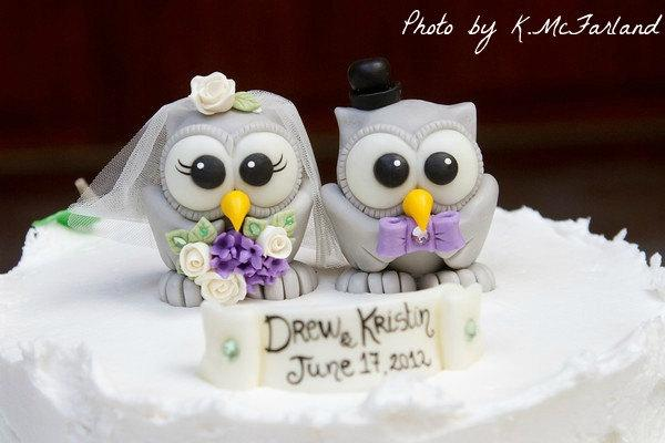 Mariage - Wedding owl cake topper love bird, grey owls bride and groom