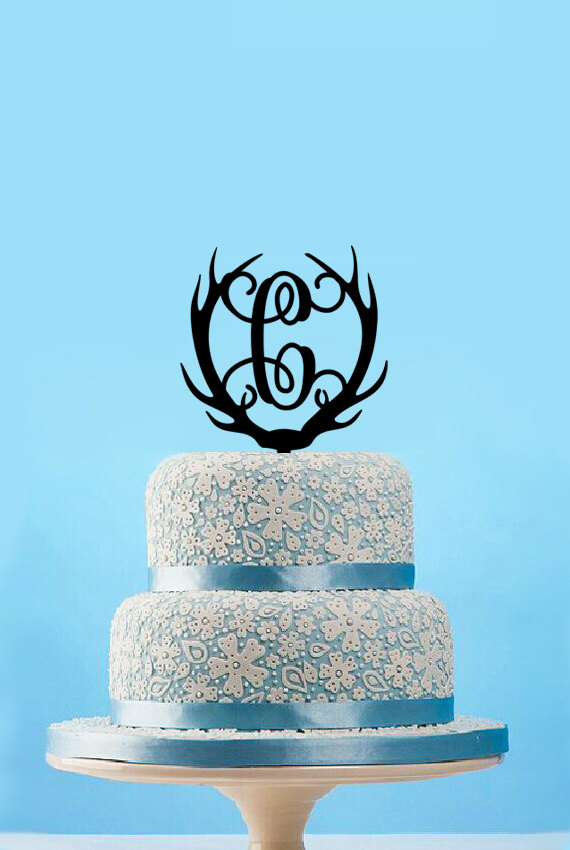 Mariage - Personalized antlers monogram cake topper,hunting birthday cake topper,funny deer antlers cake topper for wedding,rustic initial cake topper