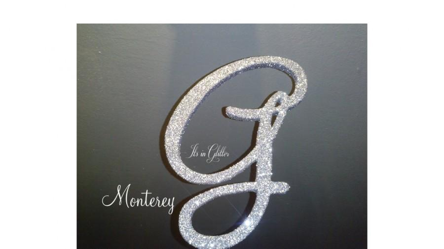 Mariage - Monogram cake topper 5 inch Silver Glitter