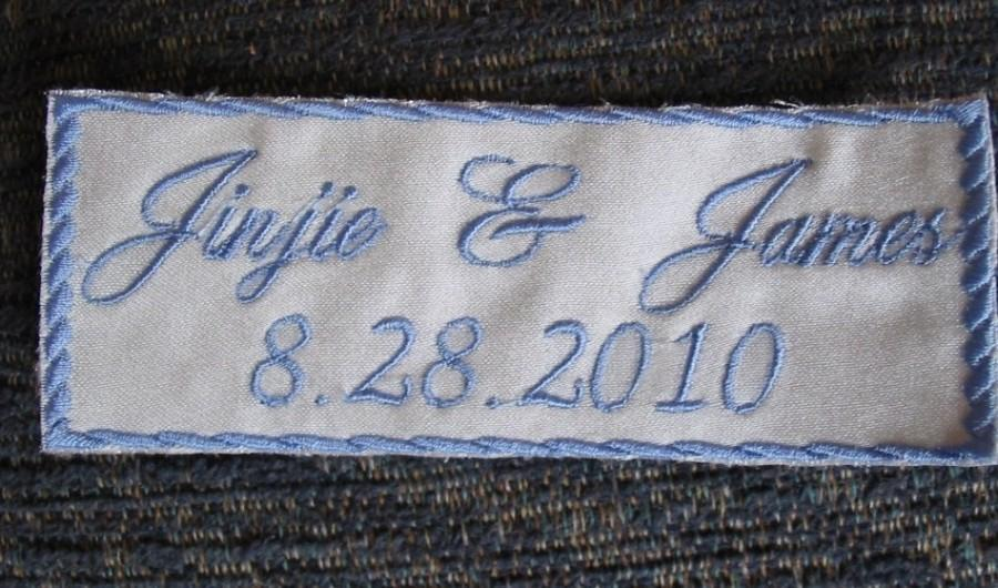 Свадьба - Something Blue - Bride Wedding Label  - Custom Embroidered with your NAME &DATE on Satin Sewn inside your dress