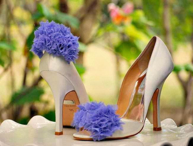 Lavender Ruffles Shoe Clips Couture Bridal Bride Bridesmaid