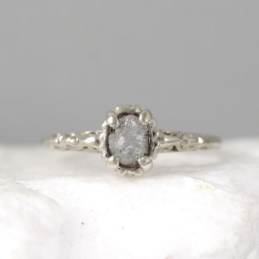 14k White Gold Raw Diamond Ring Filigree Antique Styled Engagement Ringapril  Birthstone Ringsconflict Free Uncut Rough Raw Gemstone Rings