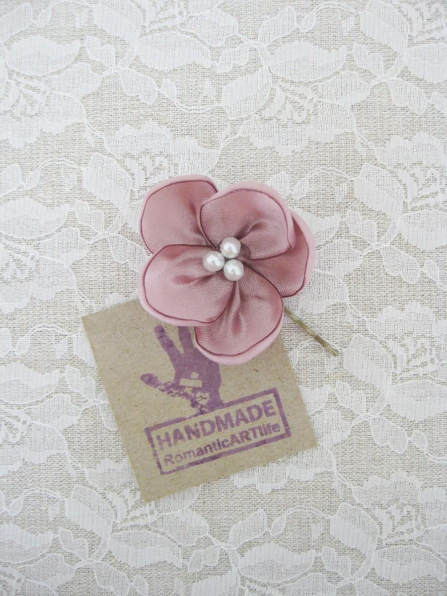 زفاف - Dusty Pink Flower Hair Pin. Dusty Rose Pink Flower Hair Piece. Bridesmaid Hair Accessory.
