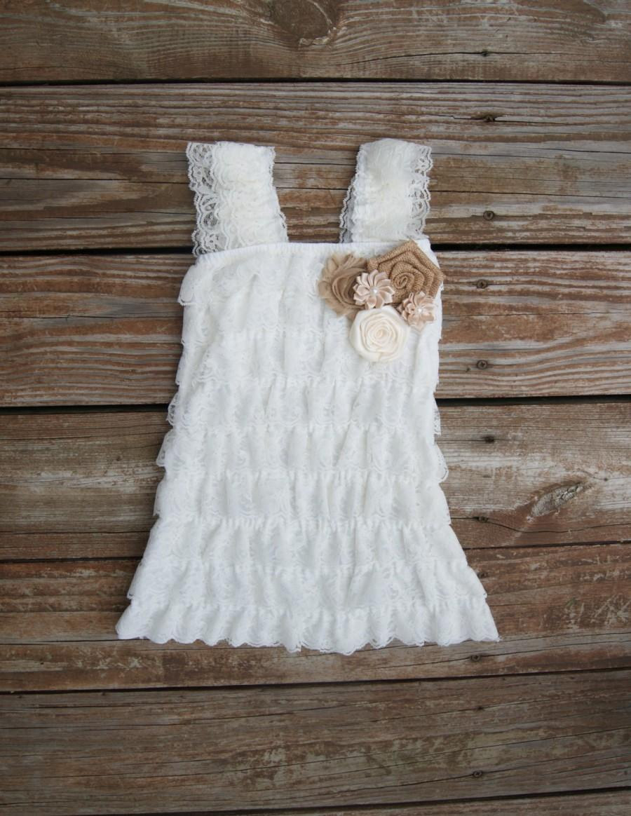 21711d792dc2 Rustic flower girl dress. Country Chic flower girl dress.- Lace flowergirl.  Rustic baby dress. Barn wedding. Cowgirl dress. Ivory lace dress