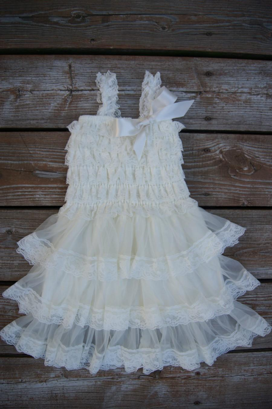 Flower Girl Dress. Ivory Lace Flower Girl Dress. Shabby Chic Vintage ...