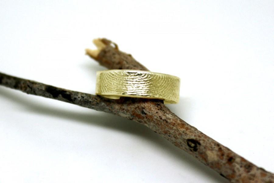 Mariage - 14k gold fingerprint ring, unique wedding band, unique commitment ring, OOAK finger print band