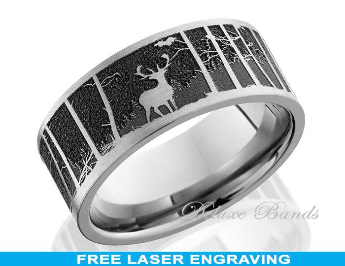 Titanium Wedding Band Hunter Ring Elk Mountain 8mm Anniversary Promise Engagement Couple His Hers Mens Womens Comfort Fit FREE Engraving