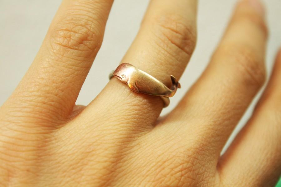 Mariage - Wondrous Whale Ring Sterling Silver Band and Brass