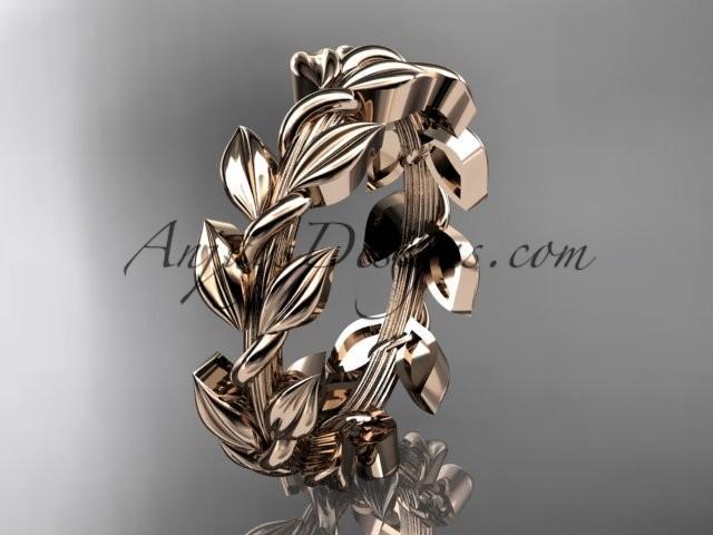 Hochzeit - 14kt rose gold leaf wedding ring, wedding band ADLR120G