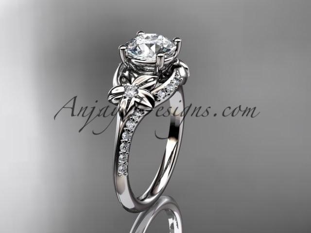 Mariage - platinum diamond floral wedding ring, engagement ring ADLR125