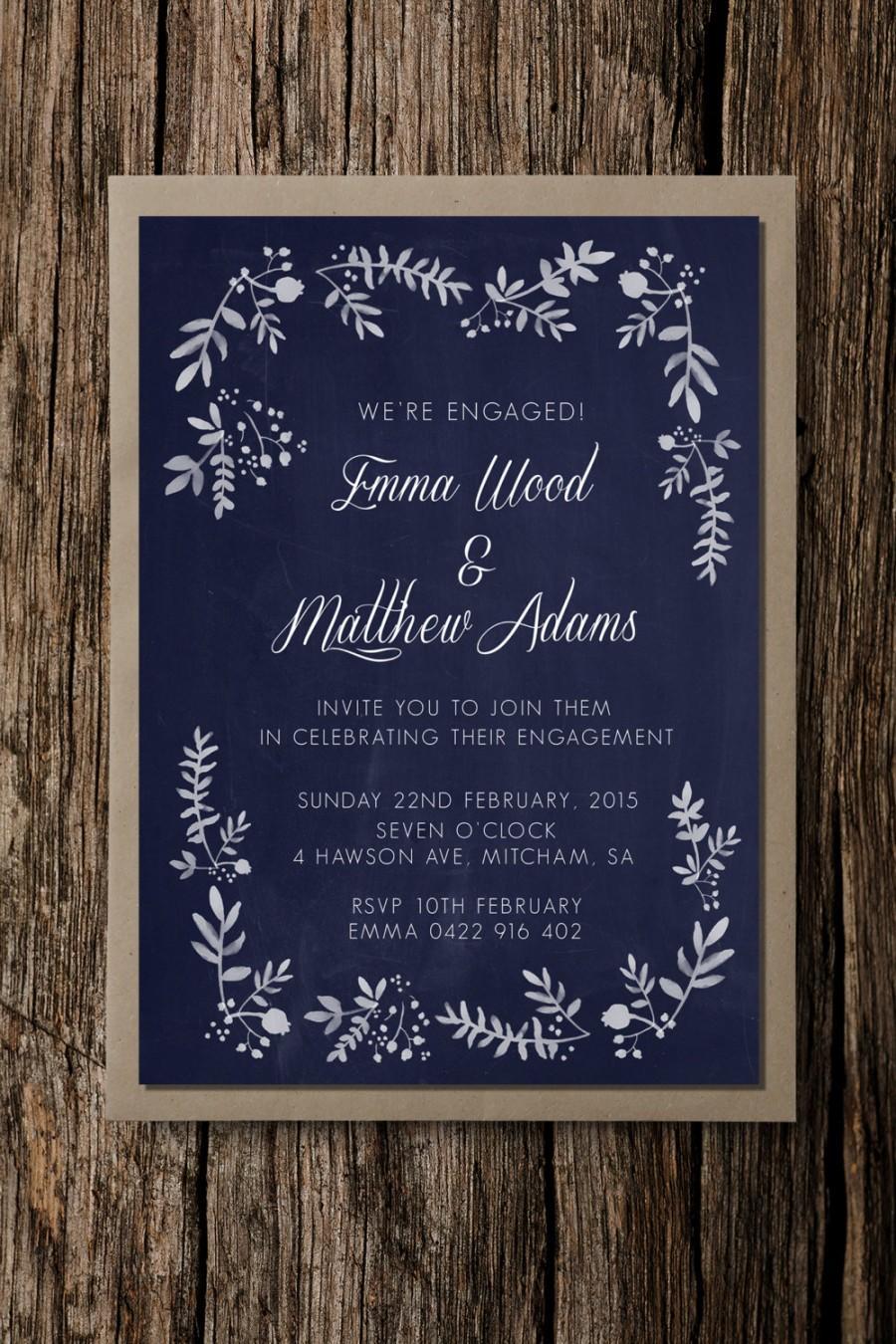 Свадьба - Engagement party invitation, Rustic Foliage, save the date, beautiful wedding invite, elegant wedding, navy, floral invite