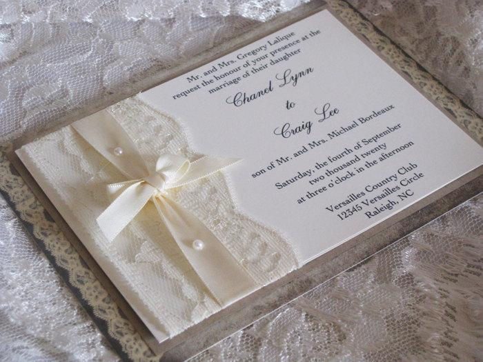 lace wedding invitation lace wedding invite wedding invitation wedding invite lace invite. Black Bedroom Furniture Sets. Home Design Ideas