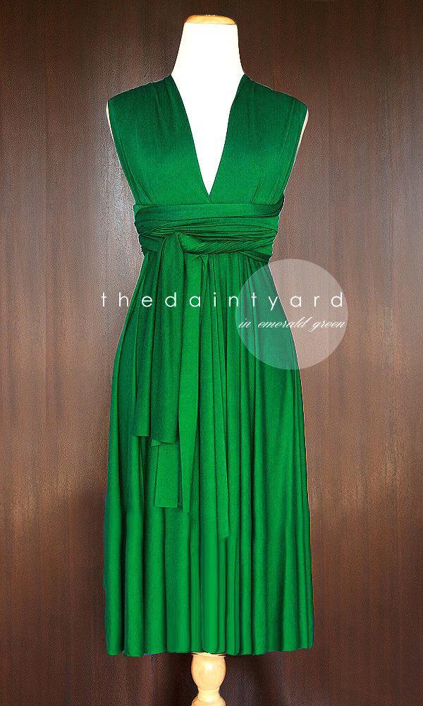 Свадьба - Short Straight Hem Emerald Green Bridesmaid Dress Convertible Dress Infinity Dress Multiway Dress Wrap Dress Maid of Honor Wedding Dress