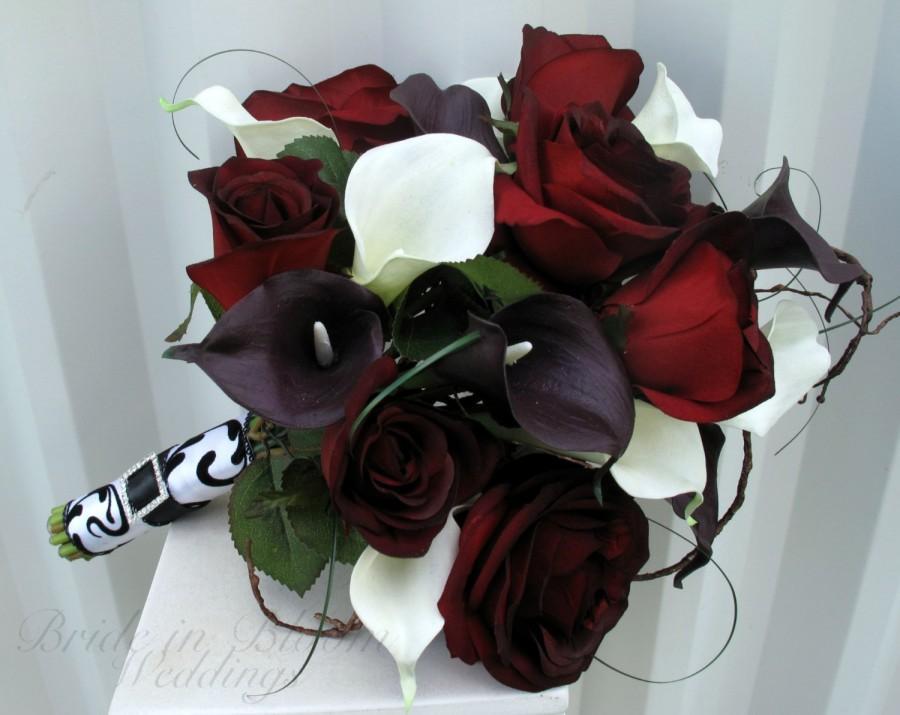 Mariage - Black baccara rose Wedding bouquet white plum black calla lily Bridal bouquet silk wedding flowers