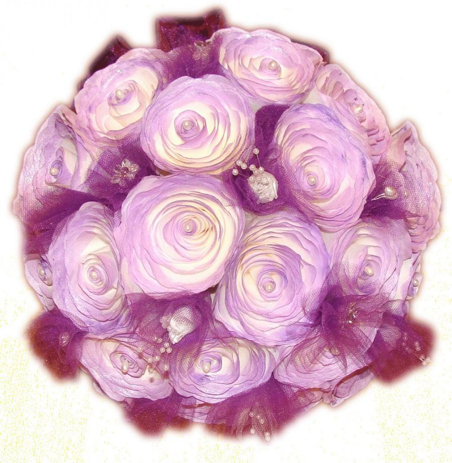 Mariage - Purple Bridal bouquet, Purple pomander, Wristet, Purple wedding bouquet, Paper flower Bouquet, Fake bouquet, Toss bouquet, boutonniere