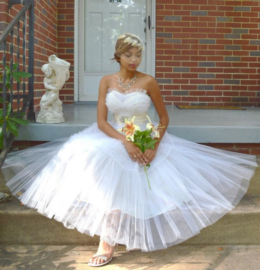 White Tulke Cupcake ~ Vintage 20s Strapless Wedding Prom Dress ...