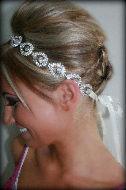 Свадьба - Rhinestone Bridal Headband- ELSIE- Wedding Headpiece, Rhinestone Headband, Bridal Headpiece, Hair Accessories