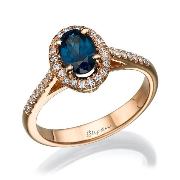 Blue Saphire Ring Engagement Ring Rose Gold Engagement Ring Gem Ring Gemstone