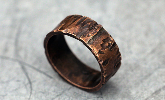 Rugged Copper Ring Band For Men Women Woodgrain Finish