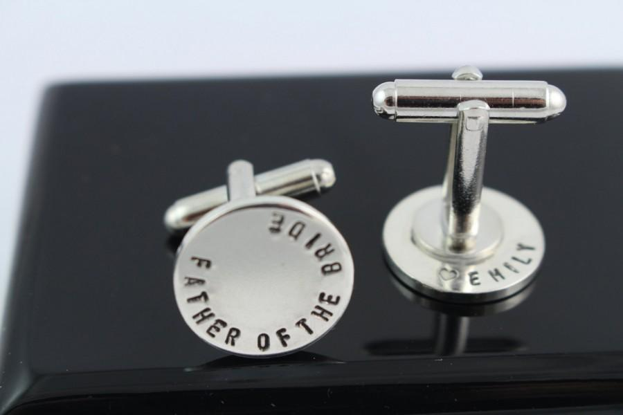 Свадьба - Double Sided Secret Message Father of the Bride Cufflinks - Cuff Links - Sterling Silver Personalized Custom Wedding Gift for Men