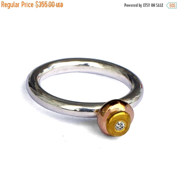 Hochzeit - Black Friday SALE - TRI-COLOR Gold Ring, Sterling Silver and Gold Engagement Ring with Diamond, 14K Rose Gold Ring