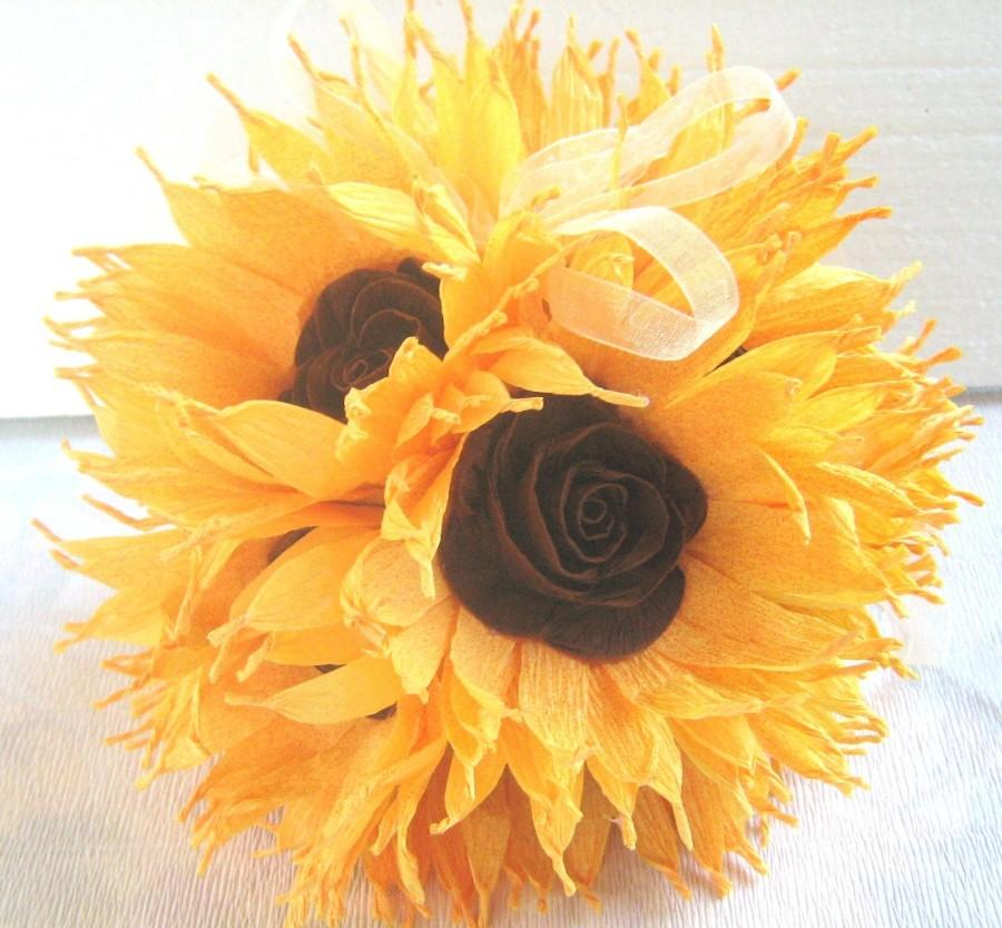 Sunflower wedding hanging crepe paper flower balls pomander kissing sunflower wedding hanging crepe paper flower balls pomander kissing balls wedding centerpieces crepe paper flowers flower girl baby shower mightylinksfo Choice Image