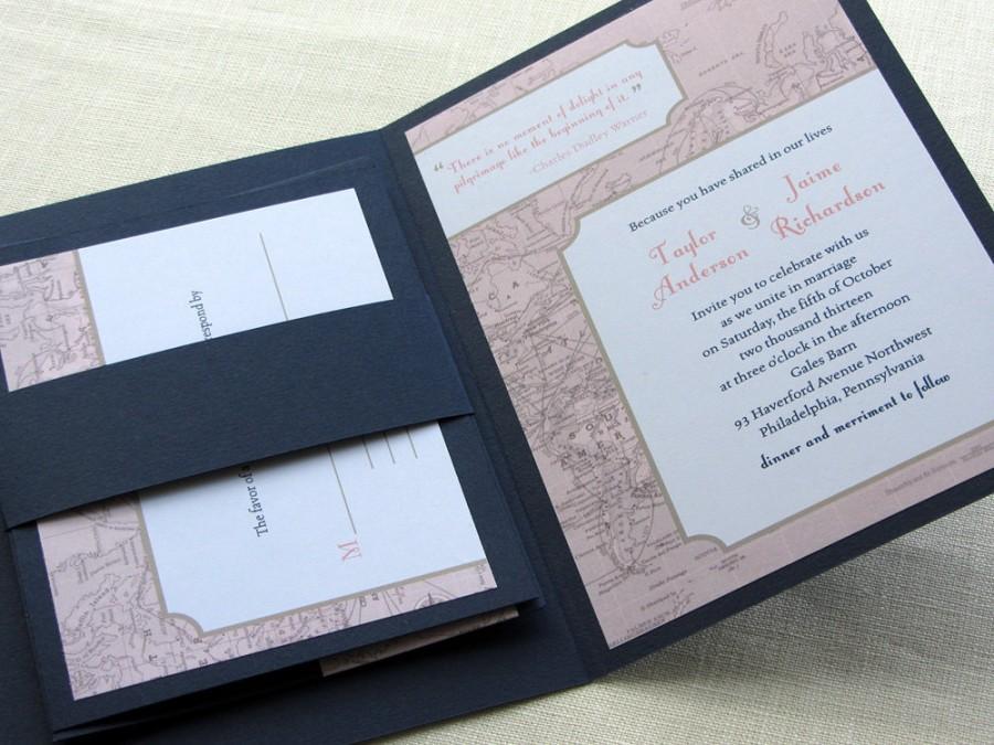 Vintage Wedding Invitation Booklet   Vintage Map Destination Wedding Design