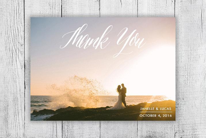 Hochzeit - Calligraphy Custom Photo Thank You Card, Digital Design, Elegant Simple Printable Thank You Card
