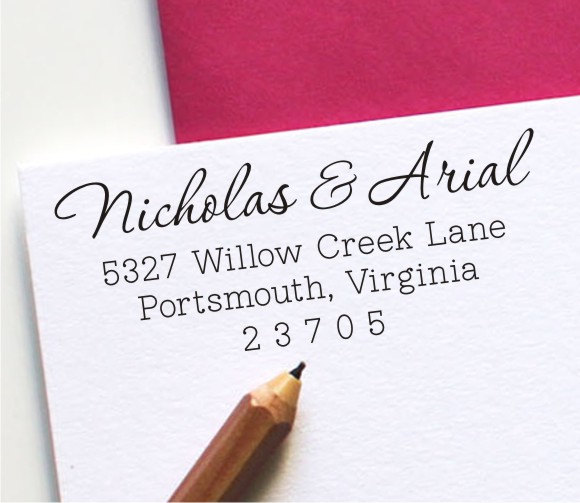 Wedding - Self Inking Address Stamp - Custom Return Address Stamp - Personalized Wedding Gift (127)