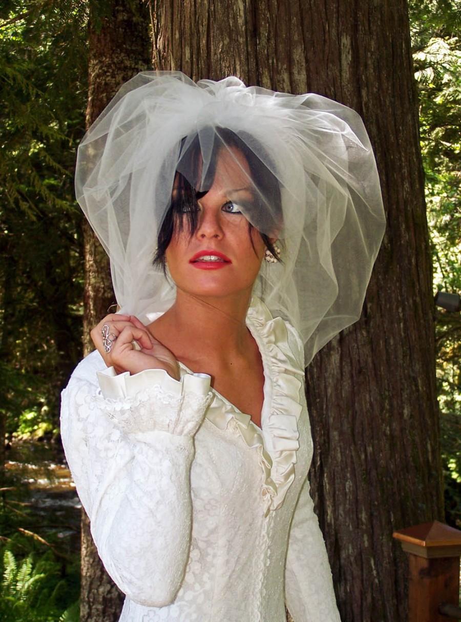 Свадьба - Full Illusion Tulle Bubble Veil with Angled Blusher  CRBoggs Signature veil Original Design
