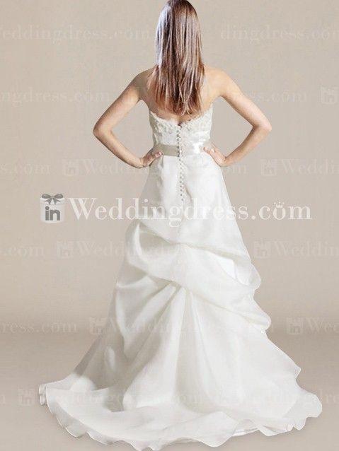 Mariage - Elegant Strapless Organza Destination Bridal Dress DE366